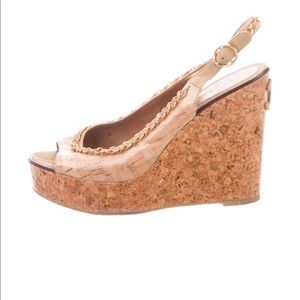 CHANEL Logo Nude Peep-toe Wedge Slingbacks 40.5